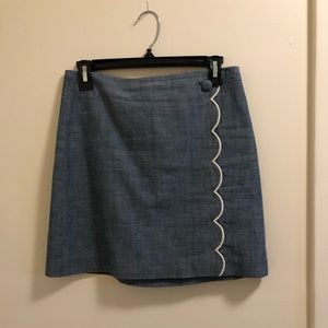 Women's J Crew Scallop Denim Mini Pencil Skirt
